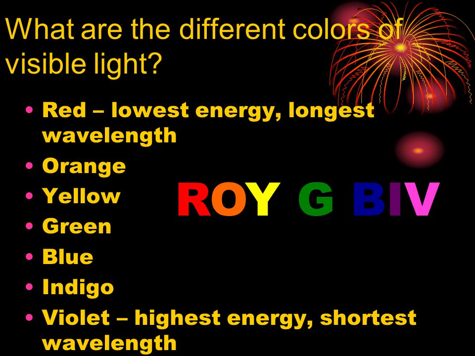 What are the different colors of visible light.