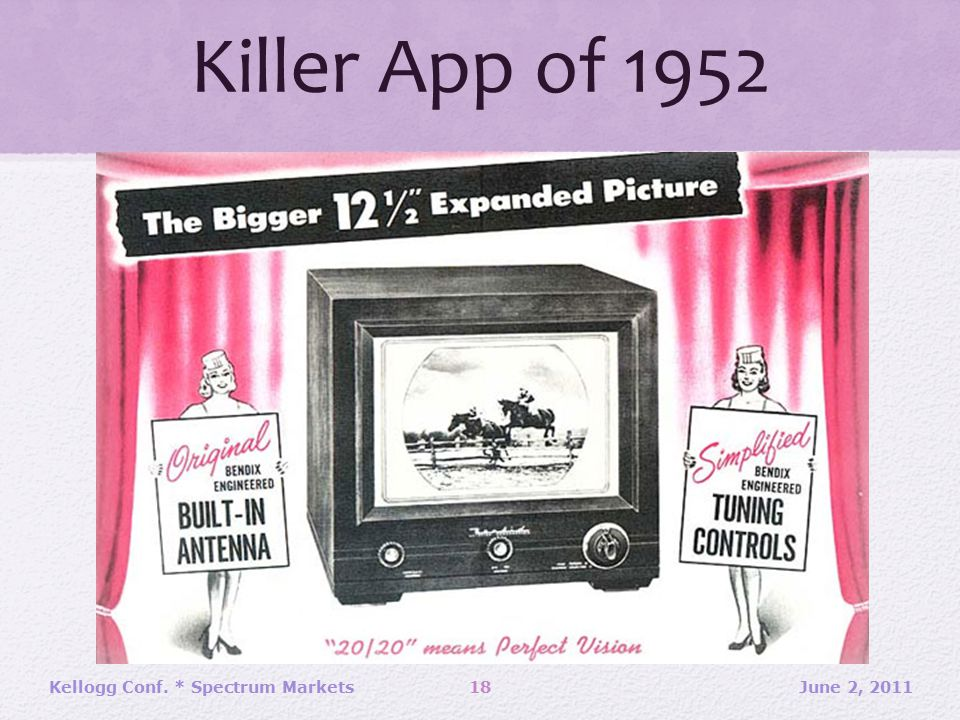 Killer App of 1952 June 2, 201118Kellogg Conf. * Spectrum Markets