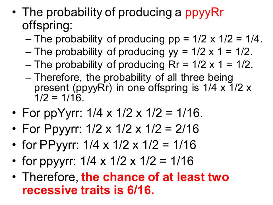 The probability of producing a ppyyRr offspring: –The probability of producing pp = 1/2 x 1/2 = 1/4.