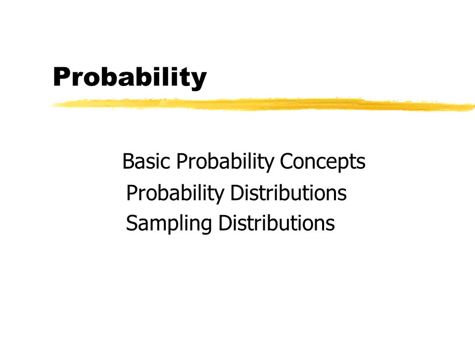 Probability Basic Probability Concepts Probability Distributions Sampling Distributions