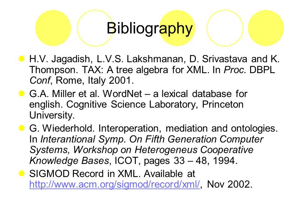 Bibliography H.V. Jagadish, L.V.S. Lakshmanan, D.