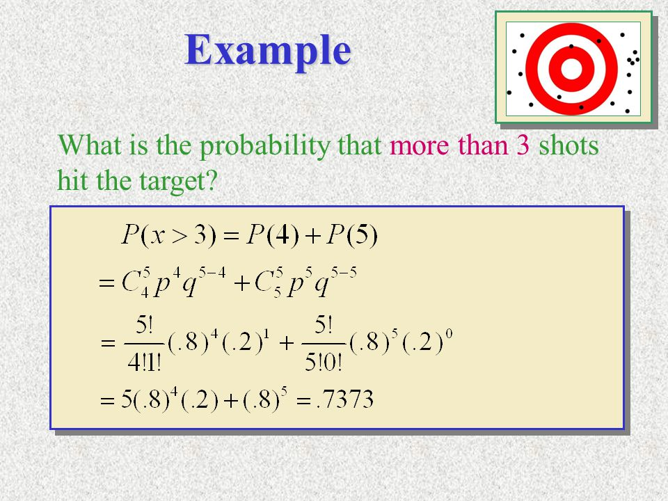 Example What is the probability that more than 3 shots hit the target?