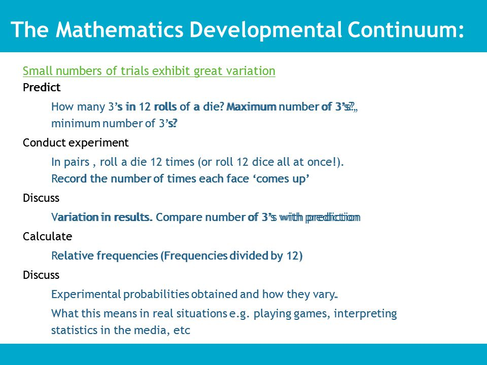 Small numbers of trials exhibit great variation Predict How many 3's in 12 rolls of a die.
