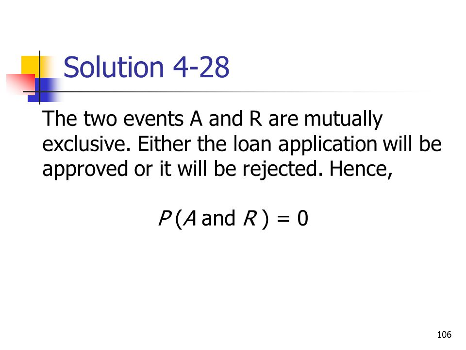 106 Solution 4-28  The two events A and R are mutually exclusive. Either the loan application will be approved or it will be rejected. Hence, P (A an