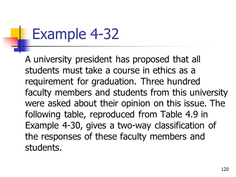 120 Example 4-32  A university president has proposed that all students must take a course in ethics as a requirement for graduation. Three hundred f