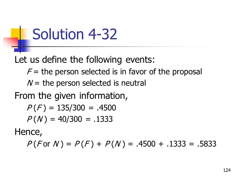 124 Solution 4-32 Let us define the following events: F = the person selected is in favor of the proposal N = the person selected is neutral From the