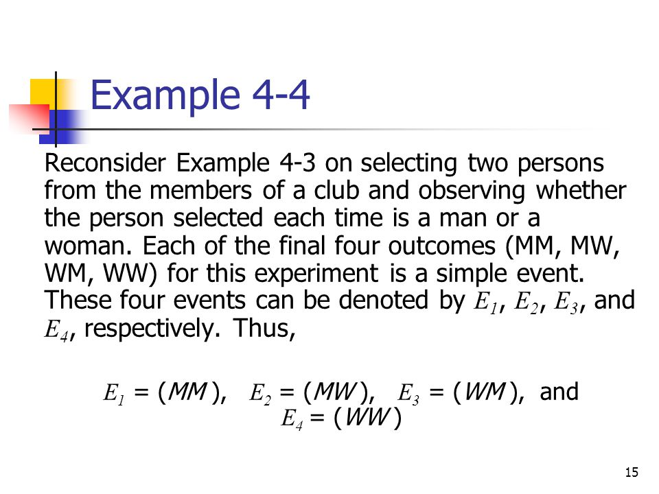 15 Example 4-4  Reconsider Example 4-3 on selecting two persons from the members of a club and observing whether the person selected each time is a m