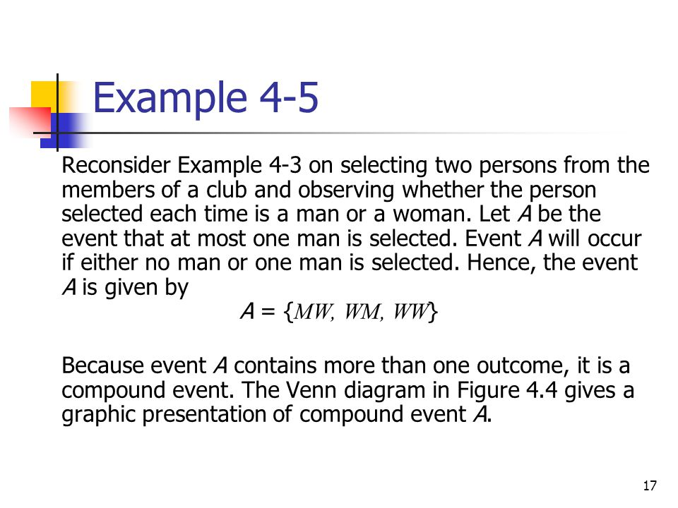17 Example 4-5  Reconsider Example 4-3 on selecting two persons from the members of a club and observing whether the person selected each time is a m
