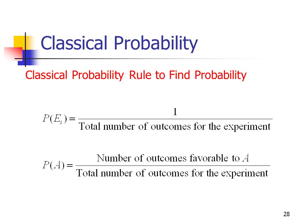 28 Classical Probability Classical Probability Rule to Find Probability