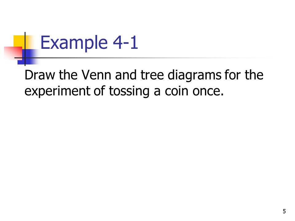 6 Figure 4.1 (a) Venn Diagram and (b) tree diagram for one toss of a coin.
