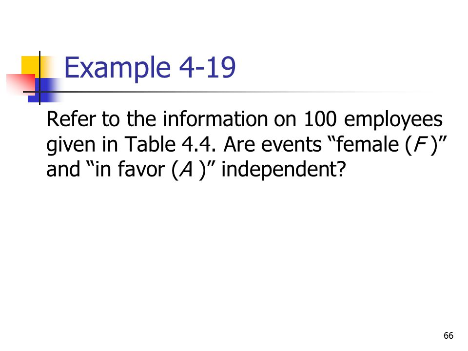 """66 Example 4-19  Refer to the information on 100 employees given in Table 4.4. Are events """"female (F )"""" and """"in favor (A )"""" independent?"""