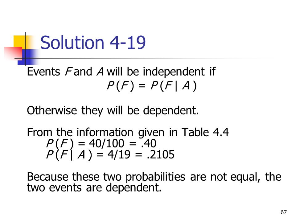67 Solution 4-19  Events F and A will be independent if  P (F ) = P (F | A )  Otherwise they will be dependent. From the information given in Table