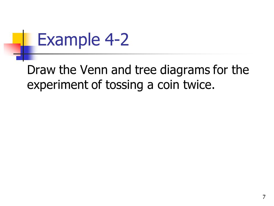 7 Example 4-2  Draw the Venn and tree diagrams for the experiment of tossing a coin twice.
