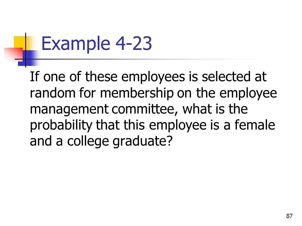 87 Example 4-23  If one of these employees is selected at random for membership on the employee management committee, what is the probability that th
