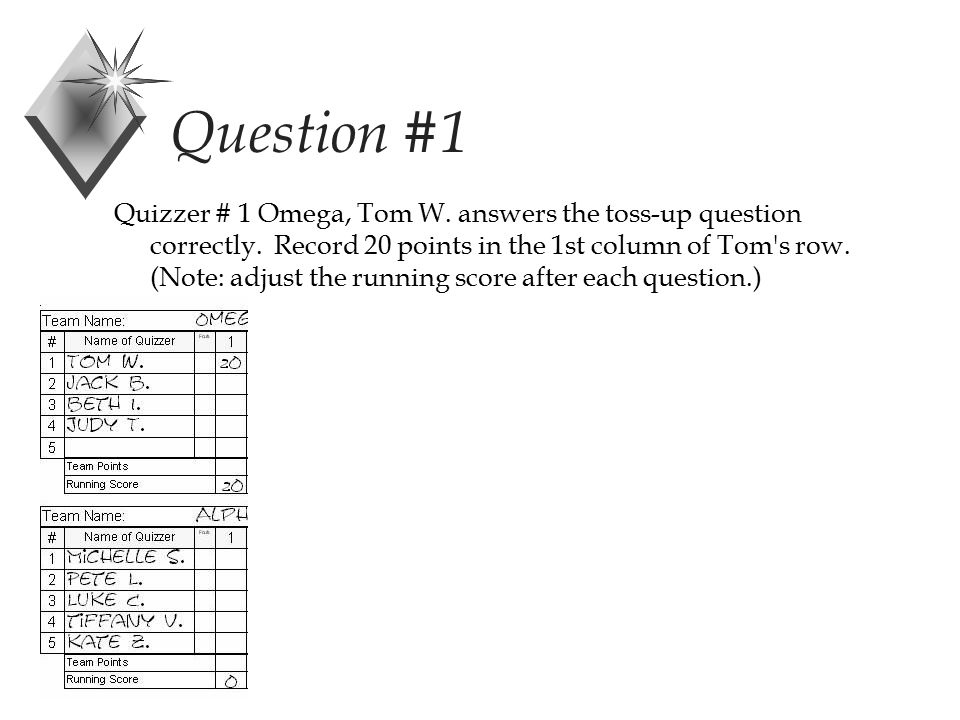 Question #1 Quizzer # 1 Omega, Tom W. answers the toss-up question correctly.
