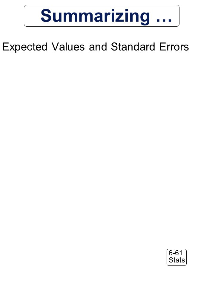 6-61 Stats Summarizing … Expected Values and Standard Errors
