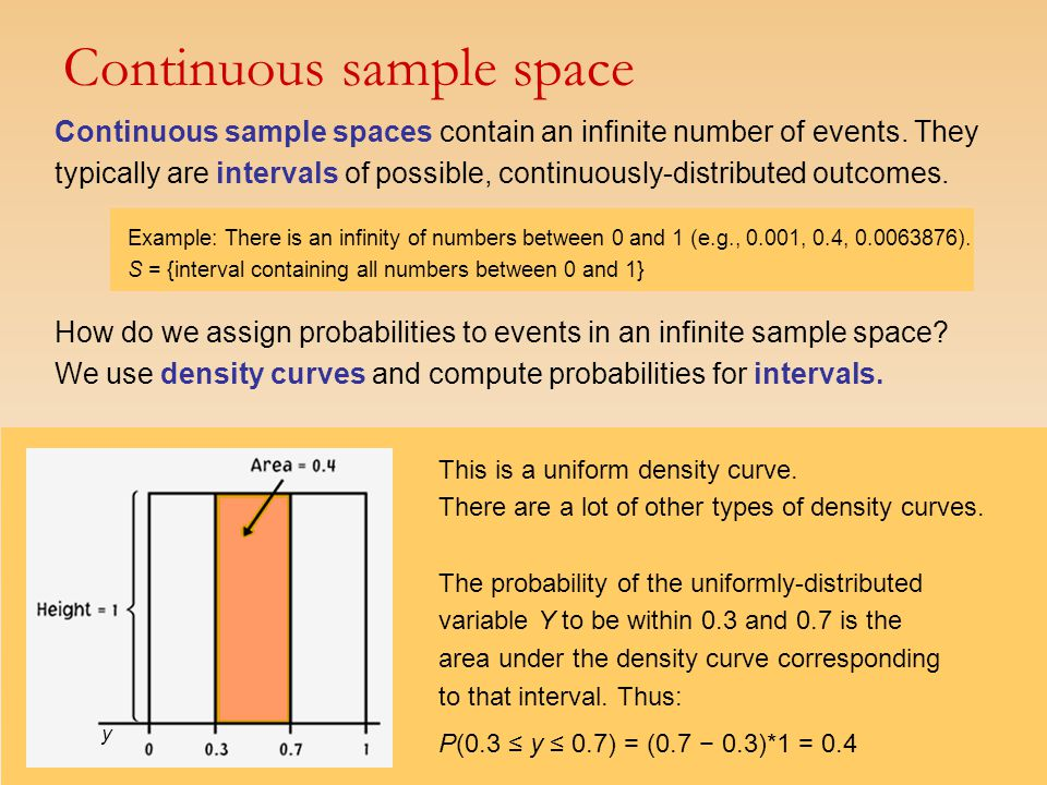 Continuous sample spaces contain an infinite number of events. They typically are intervals of possible, continuously-distributed outcomes. Example: T