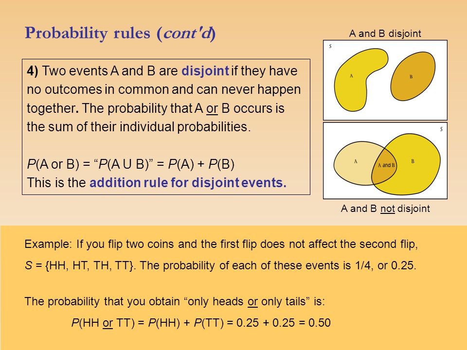 Probability rules (cont d) 4) Two events A and B are disjoint if they have no outcomes in common and can never happen together.