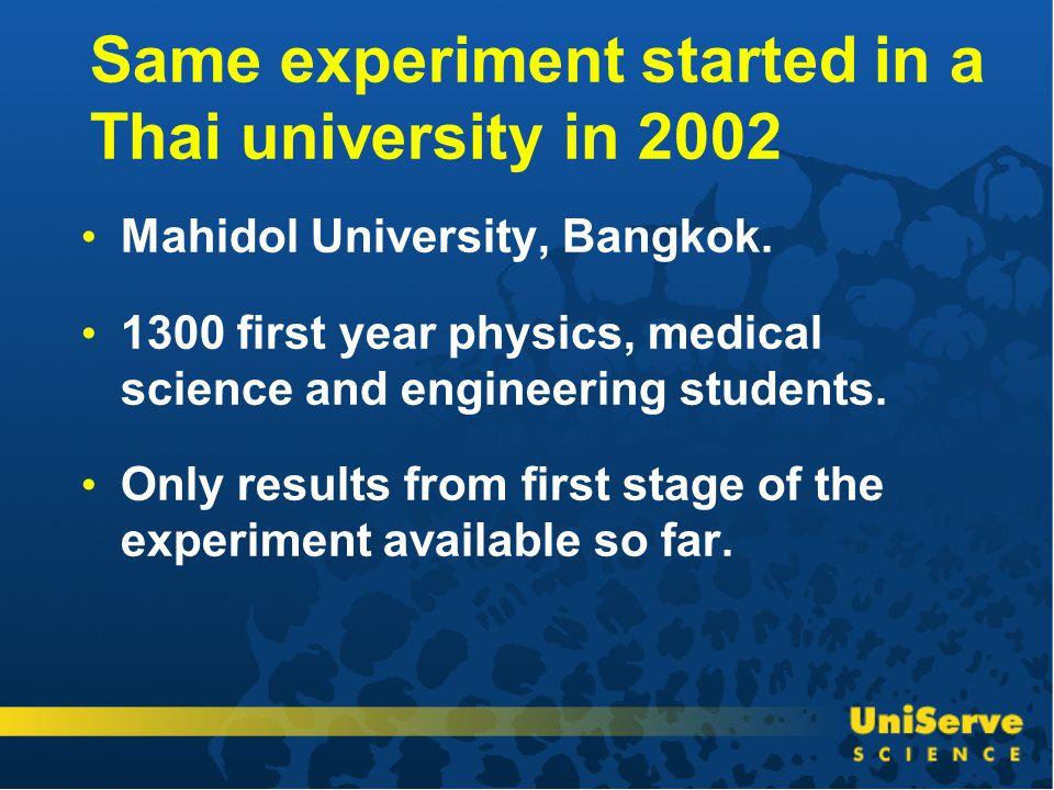 Same experiment started in a Thai university in 2002 Mahidol University, Bangkok.
