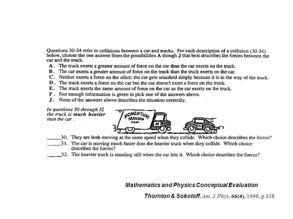 Mathematics and Physics Conceptual Evaluation Thornton & Sokoloff, Am. J. Phys, 66(4), 1998, p 338