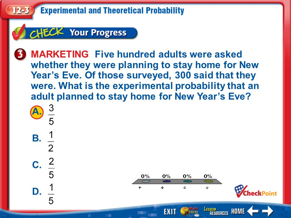 1.A 2.B 3.C 4.D Example 3 MARKETING Five hundred adults were asked whether they were planning to stay home for New Year's Eve. Of those surveyed, 300
