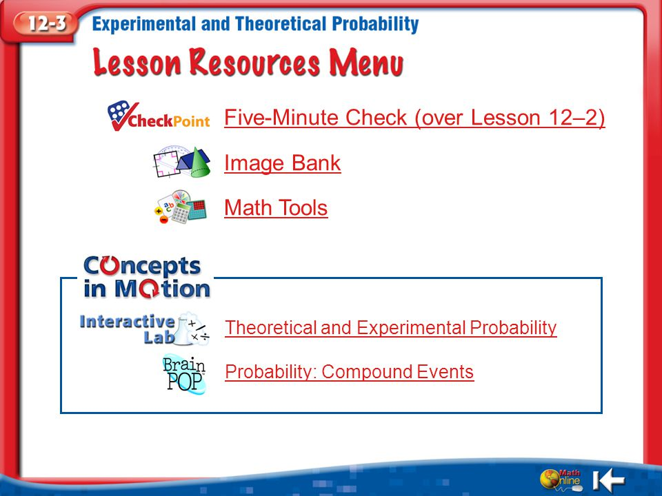 Resources Five-Minute Check (over Lesson 12–2) Image Bank Math Tools Theoretical and Experimental Probability Probability: Compound Events