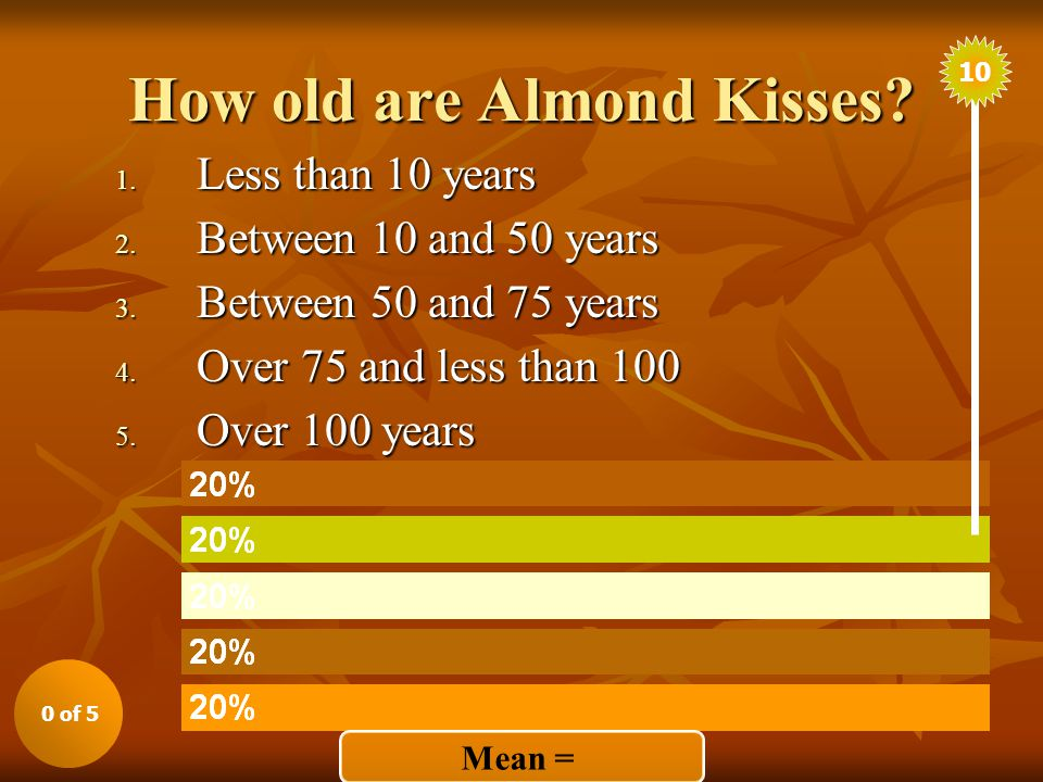 How old are Almond Kisses. 1. Less than 10 years 2.