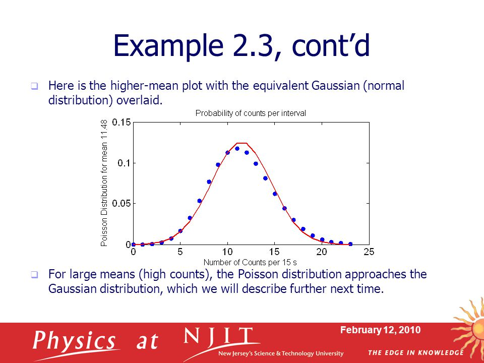 February 12, 2010 Example 2.3, cont'd  Here is the higher-mean plot with the equivalent Gaussian (normal distribution) overlaid.