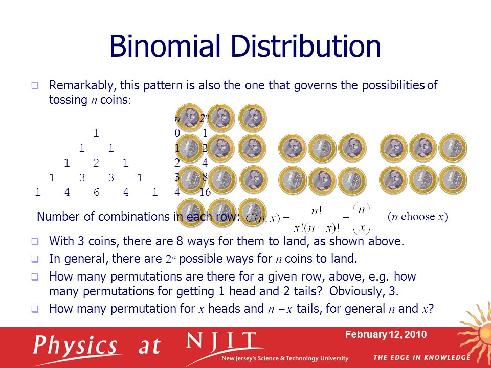 February 12, 2010 Binomial Distribution  Remarkably, this pattern is also the one that governs the possibilities of tossing n coins :  With 3 coins, there are 8 ways for them to land, as shown above.