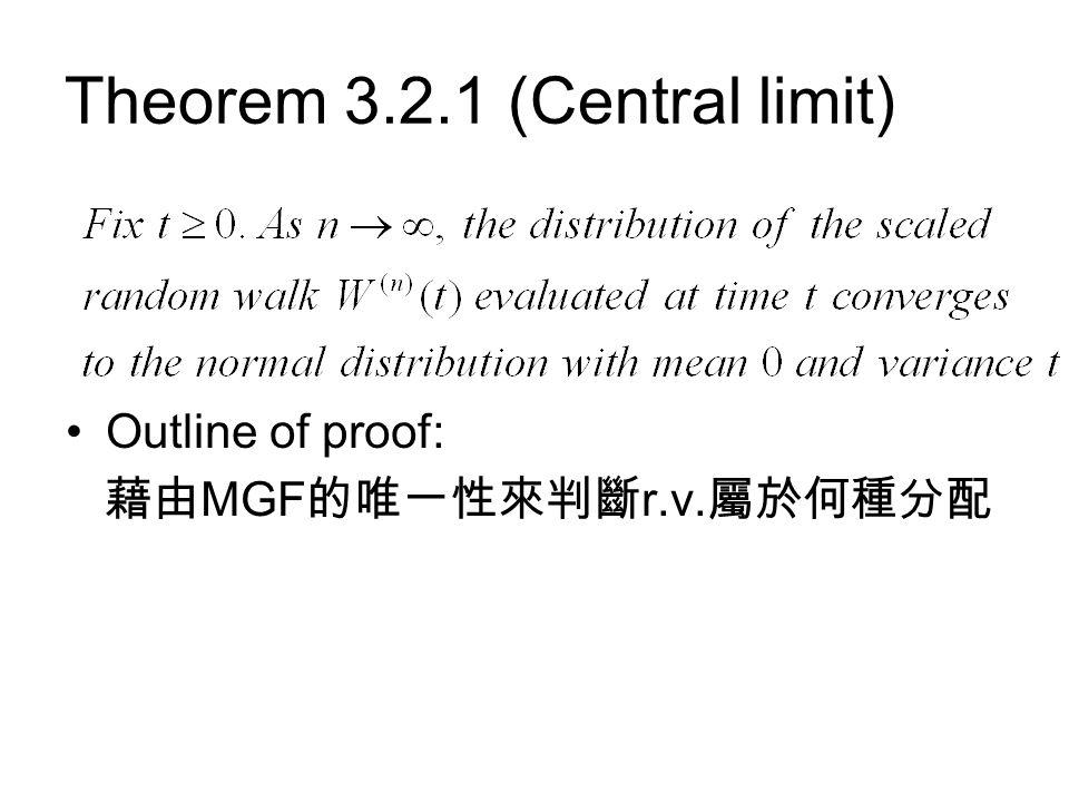 Theorem 3.2.1 (Central limit) Outline of proof: 藉由 MGF 的唯一性來判斷 r.v. 屬於何種分配