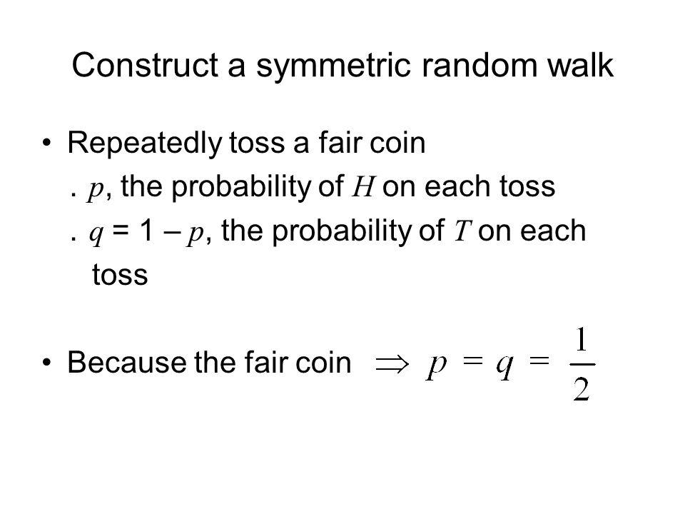 Construct a symmetric random walk Repeatedly toss a fair coin . p, the probability of H on each toss . q = 1 – p, the probability of T on each toss Be