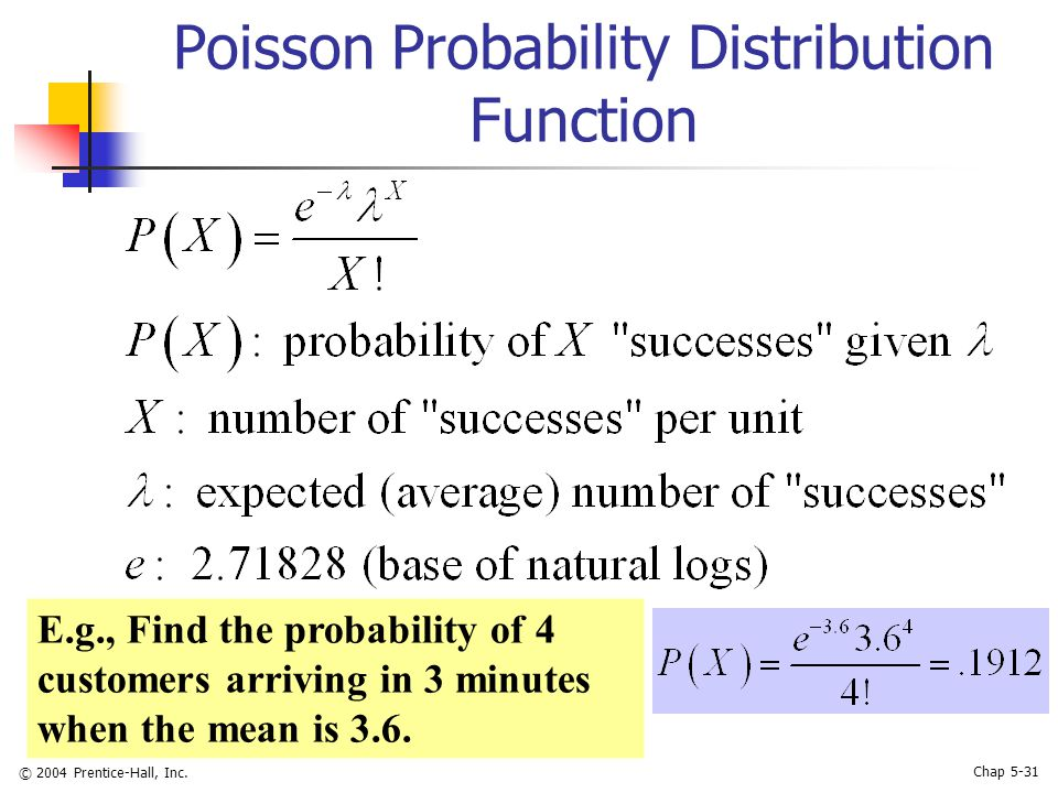 © 2004 Prentice-Hall, Inc. Chap 5-31 Poisson Probability Distribution Function E.g., Find the probability of 4 customers arriving in 3 minutes when th