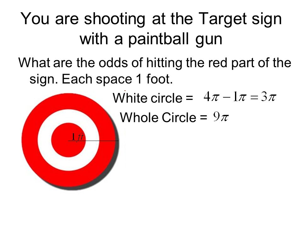 You are shooting at the Target sign with a paintball gun What are the odds of hitting the red part of the sign. Each space 1 foot. White circle = Whol