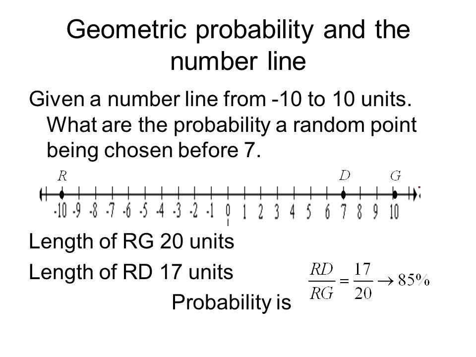 Geometric probability and the number line Given a number line from -10 to 10 units. What are the probability a random point being chosen before 7. Len