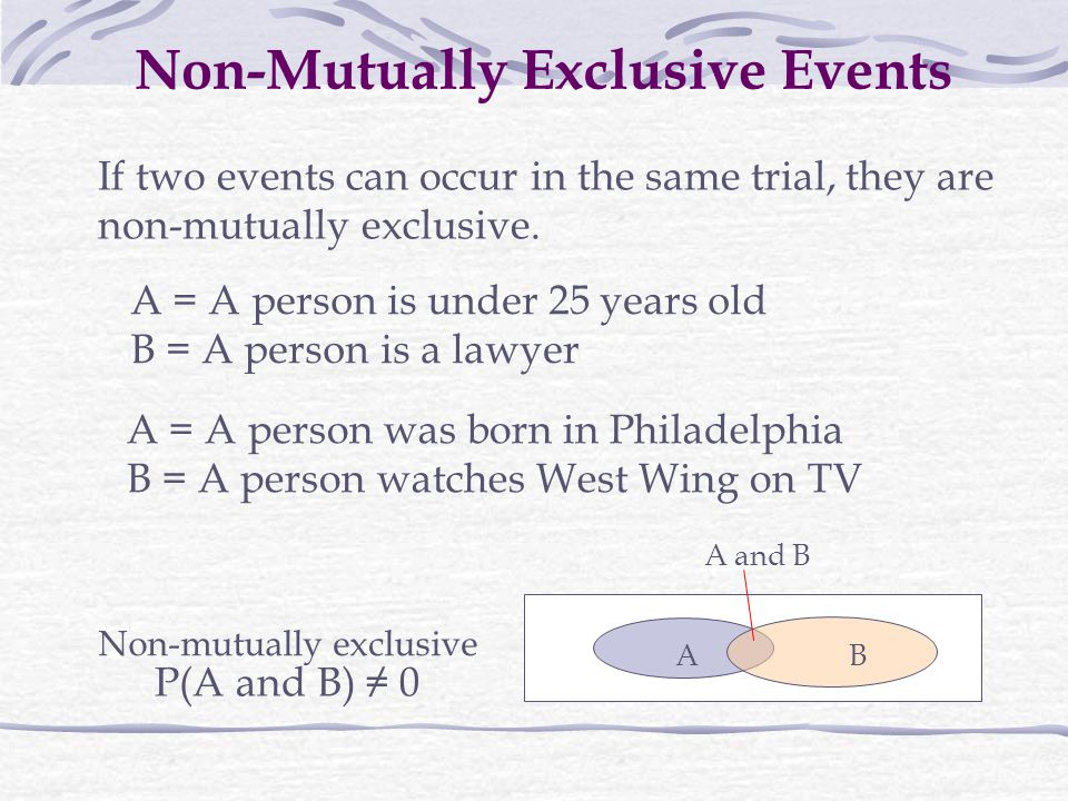 Non-Mutually Exclusive Events If two events can occur in the same trial, they are non-mutually exclusive.