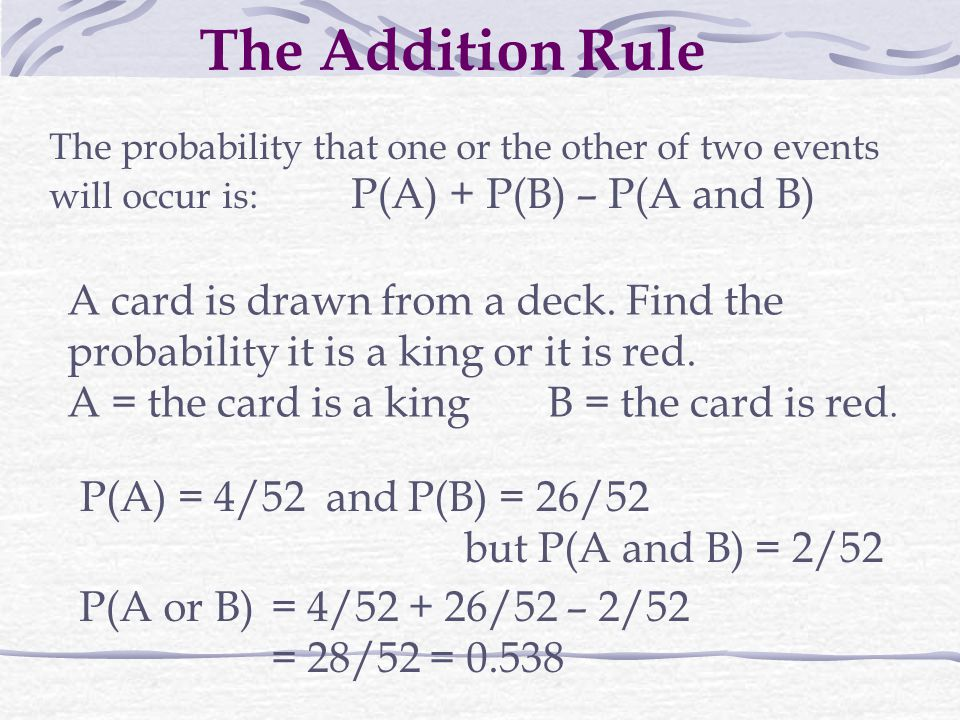 The Addition Rule The probability that one or the other of two events will occur is: P(A) + P(B) – P(A and B) A card is drawn from a deck.