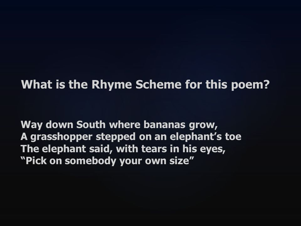 What is the Rhyme Scheme for this poem.