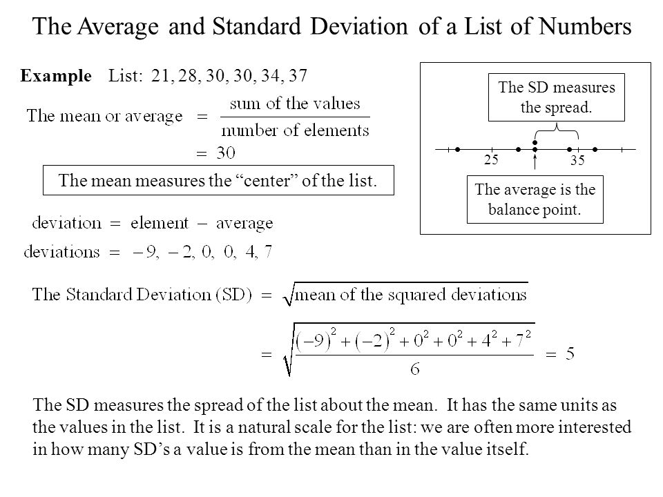 The Average and Standard Deviation of a List of Numbers Example List: 21, 28, 30, 30, 34, 37 The SD measures the spread of the list about the mean. It