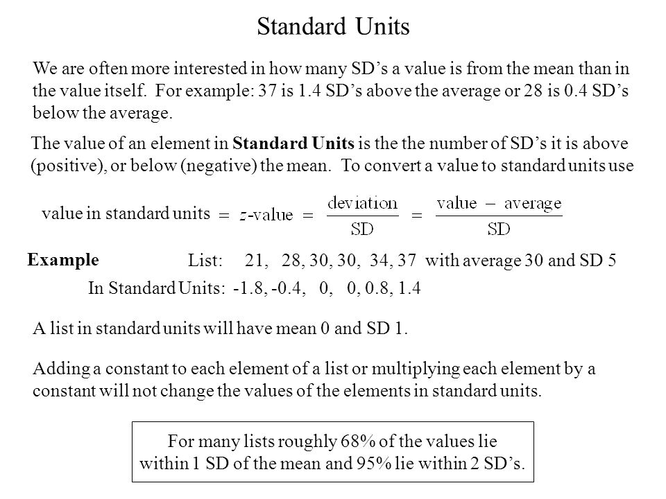 Standard Units A list in standard units will have mean 0 and SD 1.