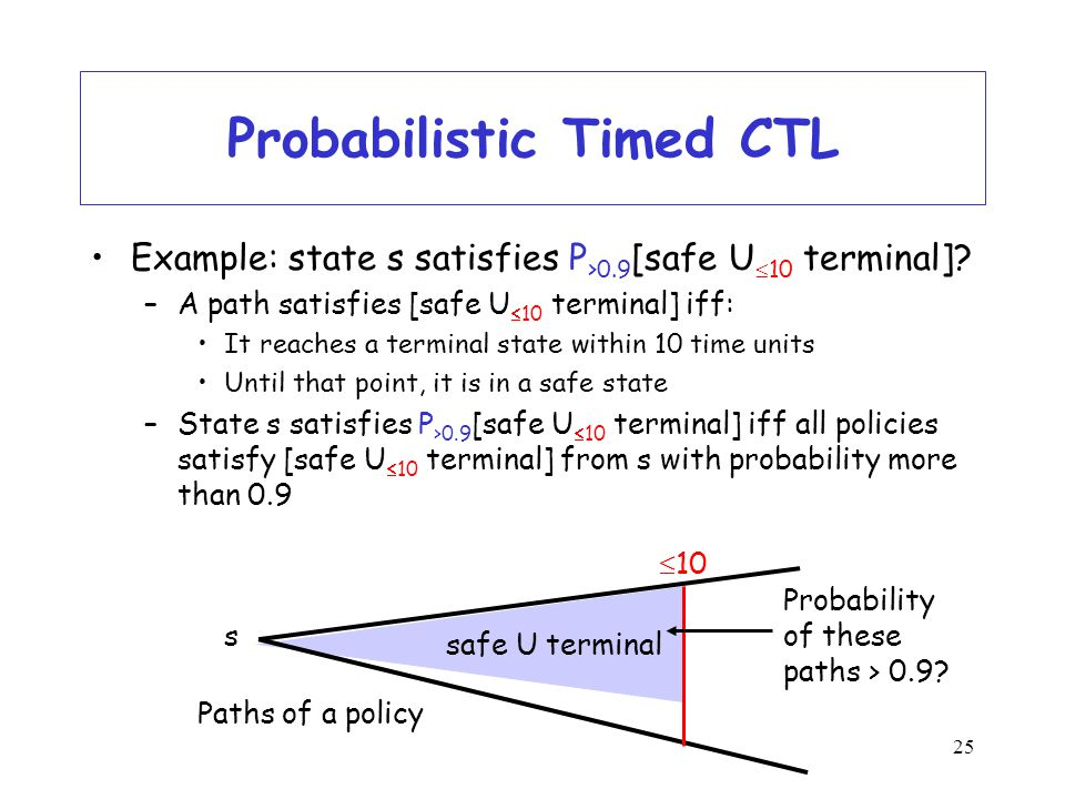 25 Probabilistic Timed CTL Example: state s satisfies P >0.9 [safe U  10 terminal].