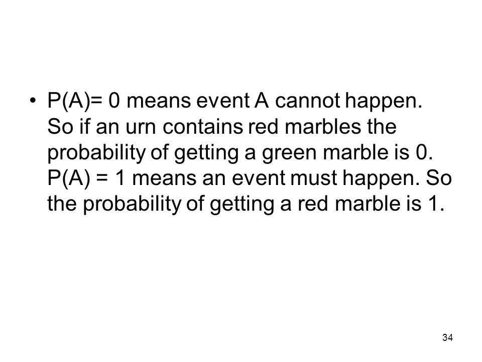 34 P(A)= 0 means event A cannot happen.