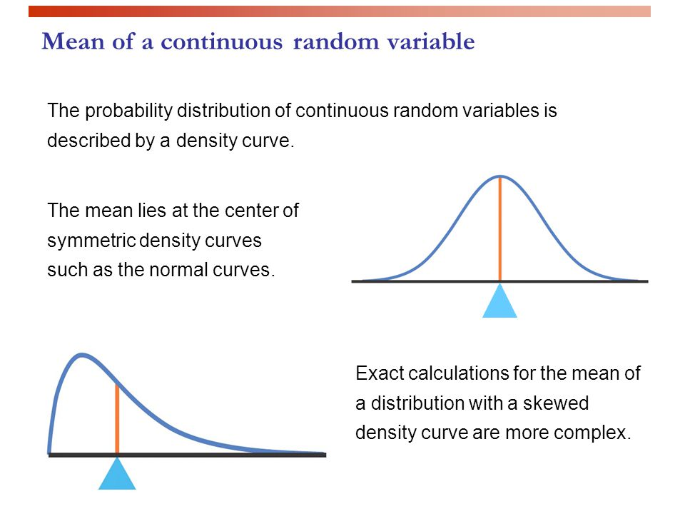 The probability distribution of continuous random variables is described by a density curve.