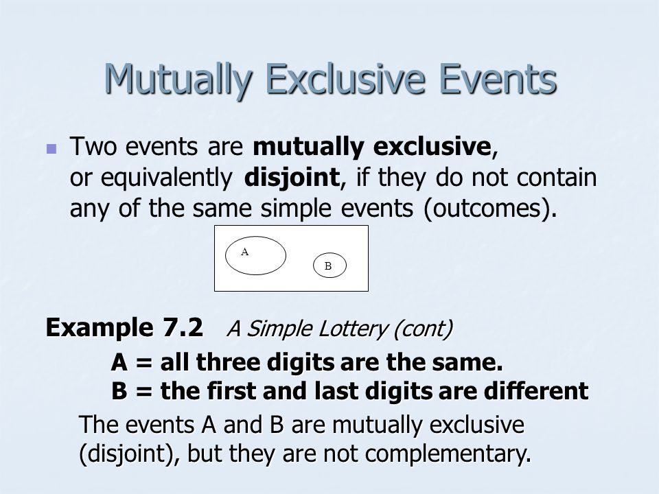 Mutually Exclusive Events Two events are mutually exclusive, or equivalently disjoint, if they do not contain any of the same simple events (outcomes).