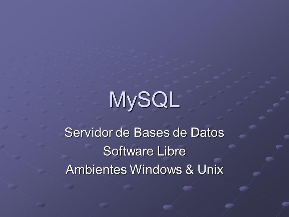 MySQL Servidor de Bases de Datos Software Libre Ambientes Windows & Unix