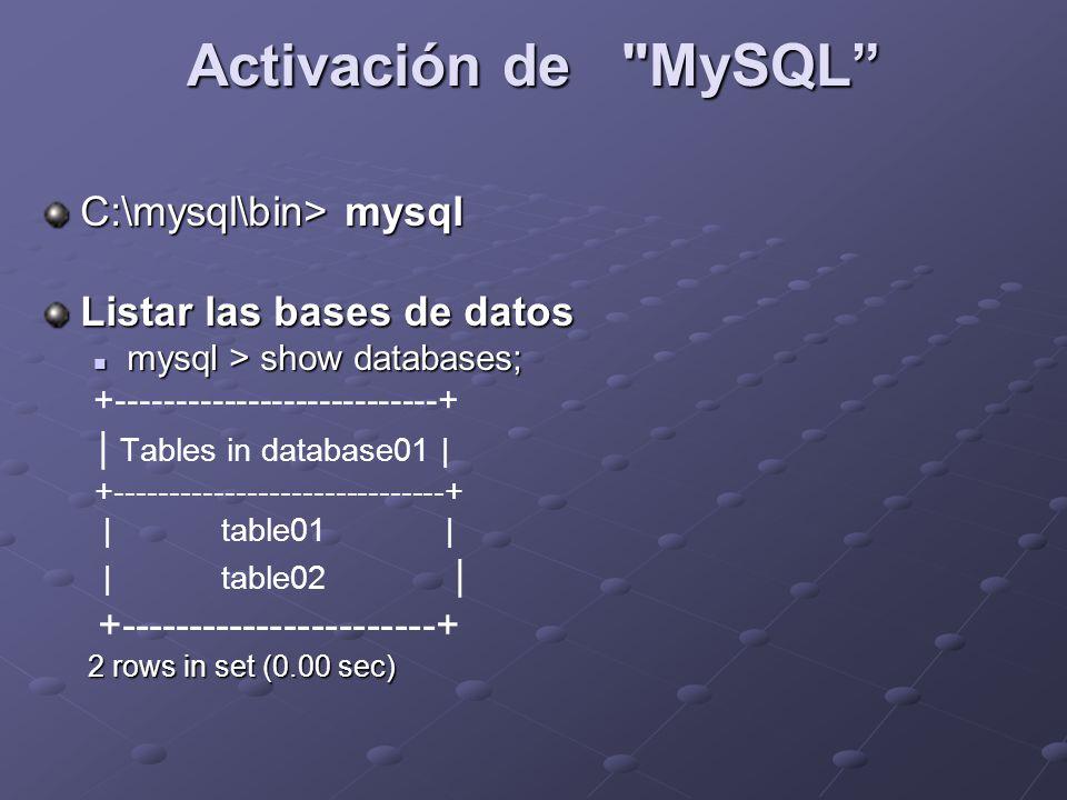 Activación de MySQL C:\mysql\bin> mysql Listar las bases de datos mysql > show databases; mysql > show databases; +---------------------------+ | Tables in database01 | +------------------------------+ | table01 | | table02 | +-----------------------+ 2 rows in set (0.00 sec) 2 rows in set (0.00 sec)