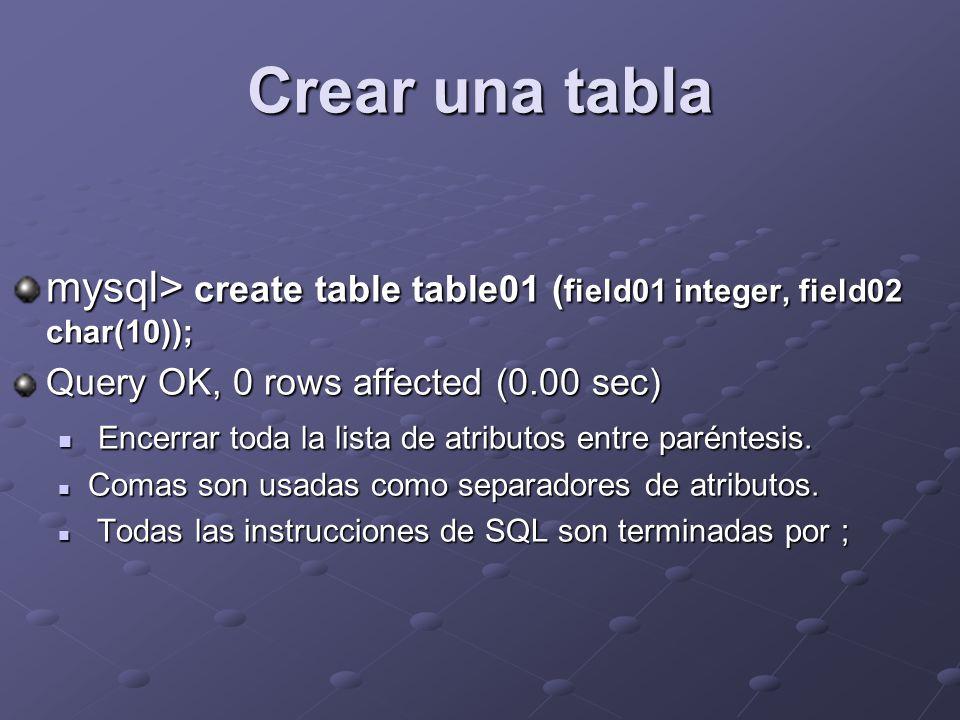 Crear una tabla mysql> create table table01 ( field01 integer, field02 char(10)); Query OK, 0 rows affected (0.00 sec) Encerrar toda la lista de atributos entre paréntesis.