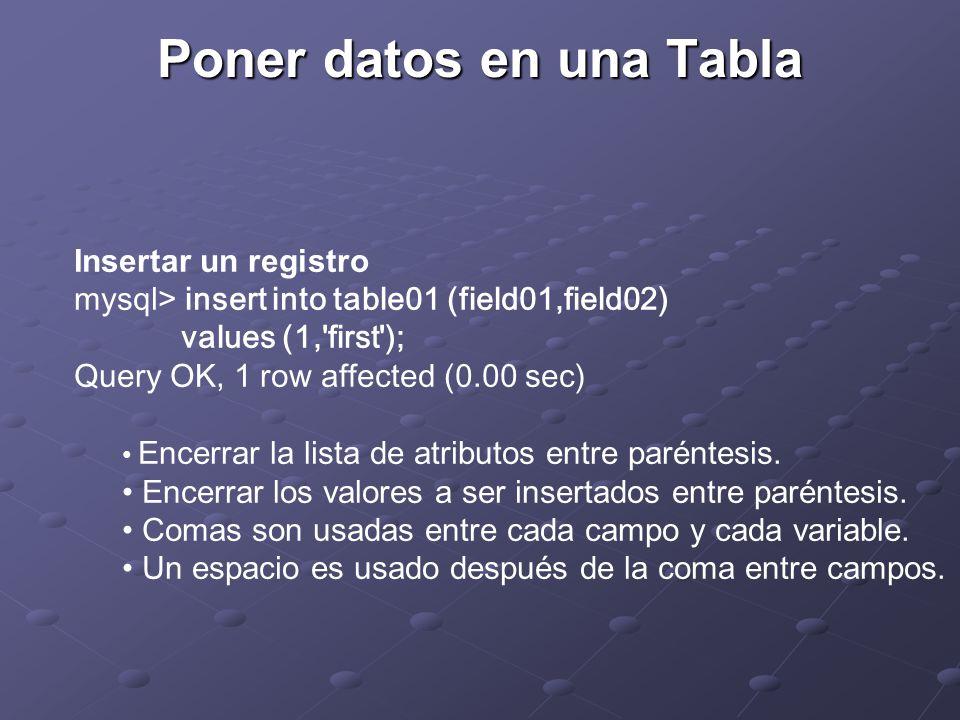 Poner datos en una Tabla Insertar un registro mysql> insert into table01 (field01,field02) values (1, first ); Query OK, 1 row affected (0.00 sec) Encerrar la lista de atributos entre paréntesis.