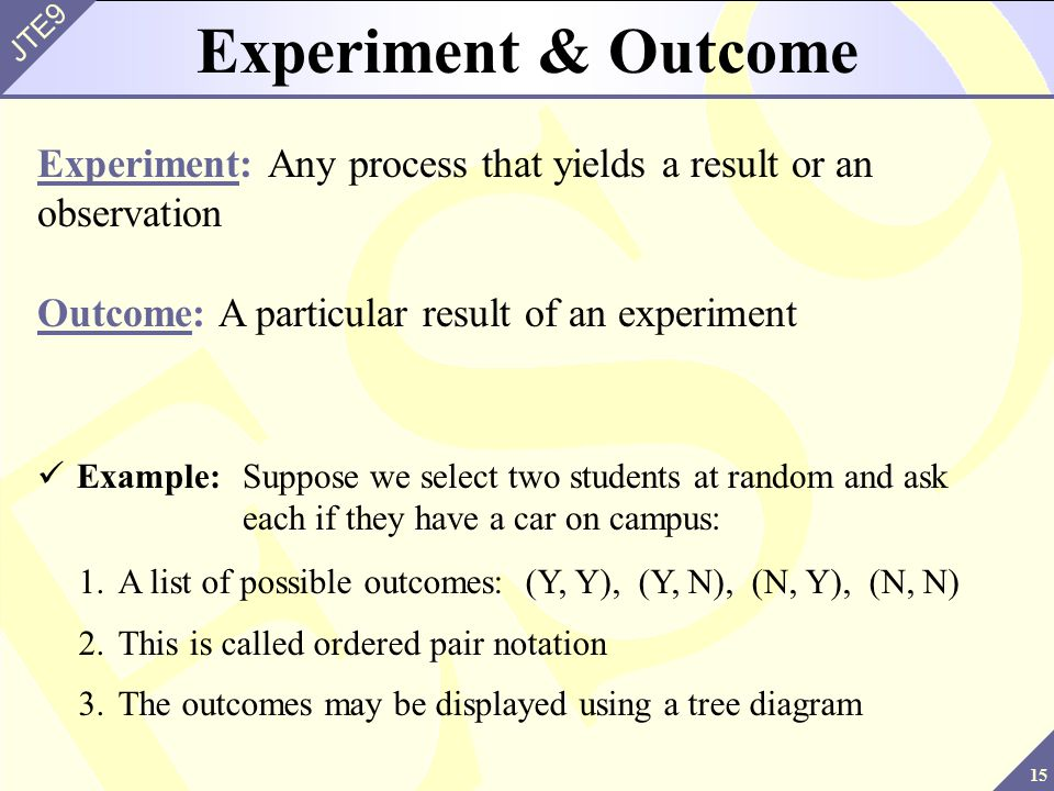 15 JTE9 Experiment & Outcome Experiment: Any process that yields a result or an observation Outcome: A particular result of an experiment Example:Supp