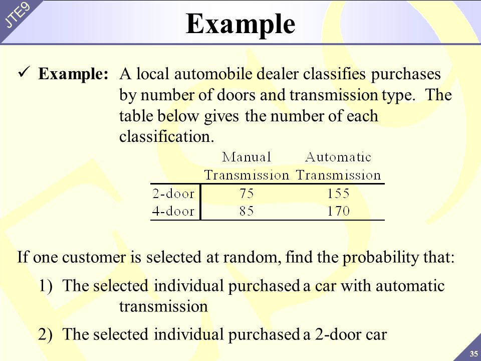 35 JTE9 Example Example:A local automobile dealer classifies purchases by number of doors and transmission type. The table below gives the number of e