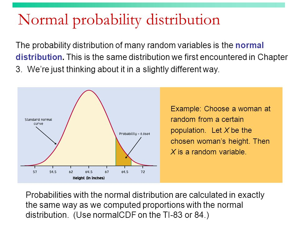 The probability distribution of many random variables is the normal distribution.